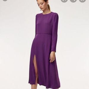 Aritzia Black slit midi dress